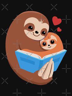 'Sloth Mother Reading Book to Child' T-Shirt by jonmlam Baby Sloth, Cute Sloth, Three Toed Sloth, Sloth Shirt, Sakura And Sasuke, Sloths, Canvas Prints, Art Prints, Mom And Baby
