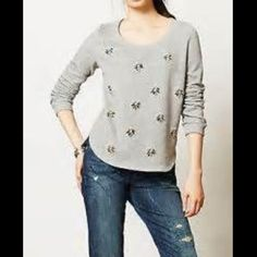 Anthro embellished sweater Beautifully embellished in true Anthro fashion. Thin soft and light. No holes, rips or stains. Pet free smoke free home. From the Lilka line Anthropologie Tops Sweatshirts & Hoodies