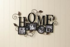 "by Accent Plus Home is where the heart is and where you can show off the photos that fill your heart with love! This beautiful iron wall decor has four photo frames of varying sizes and shapes that are ready to be filled with your favorite photo memories. Above the frames is the word ""HOME"" and decorative scrolling vines and leaves.  Frame sizes:  4"" x 4"", 6"" x 4"", 4"" x 4"", & 4"" x 4"". California Prop 65"