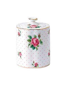 Royal Albert China New Country Roses Pink Roses Tea Caddy