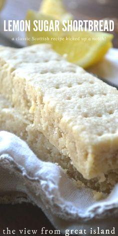 This unusual Scottish Lemon Sugar Shortbread is made with a fabulous sugar infused with lemon rind --- the lemon flavor really pops! Lemon Desserts, Lemon Recipes, Just Desserts, Baking Recipes, Sweet Recipes, Cookie Recipes, Delicious Desserts, Dessert Recipes, Dessert Bars