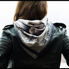 quilted leather jacket with lady like scarf