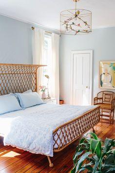 light blue master bedroom styling