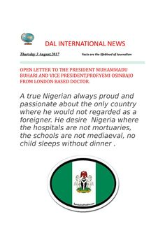 Open letter to the President Muhammadu Buhari and Vice President