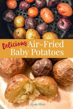 Easy and delicious air-fried baby potatoes. These tasty little potatoes are crispy on the outside and tender on the inside! Definitely a favorite! Little potatoes with a crispy outside and a deliciously tender inside. Small Potatoes Recipe, Air Fry Potatoes, Little Potatoes, Baby Potatoes, Air Fryer Baked Potato, Roasted Potatoes, Fried Potatoes, Air Fryer Recipes Breakfast, Air Fryer Oven Recipes
