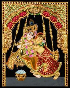 Tanjore painting or Tanjavur painting is the classical and beautiful paintings which originated in Tanjavur district of Tamil Nadu India. Mysore Painting, Tanjore Painting, Kalamkari Painting, Mughal Paintings, Indian Paintings, Art Paintings, Krishna Art, Krishna Images, Radhe Krishna