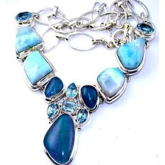 Trendy 925 Sterling Silver Necklace with Fire Opal, Larimar, and Blue Topaz Gemstones