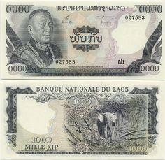 Laos  1000 Kip (1974-75) (Vatthana, elephant)