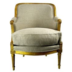 19th Century French Louis XVI Style Barrel Back Bergere Chair in Parcel Gilt | From a unique collection of antique and modern club chairs at https://www.1stdibs.com/furniture/seating/club-chairs/