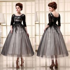 Wholesale Mother of the Bride - Buy 2014 New Sheer Net Elegance Applique Mother of the Bride Gowns A-line Black Square Neck Half Sleeves Ankle-length Evening Dresses SD036, $66.34 | DHgate