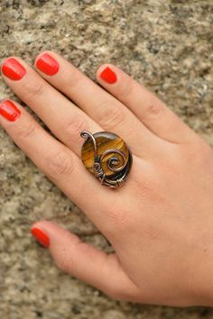 Tiger eye ring Wire wrapped jewelry handmade by CopperingJewelry