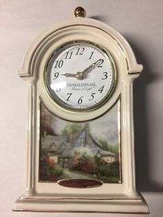"Thomas Kinkade ""Sweetheart Cottage"" Porcelain Mantle Clock - $18"