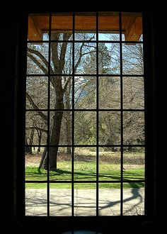 View through one of the windows in a public area at the Ahwahnee Hotel in Yosemite Valley.