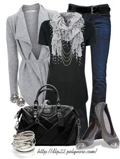 """Black and Gray"" by dlp22 on Polyvore"