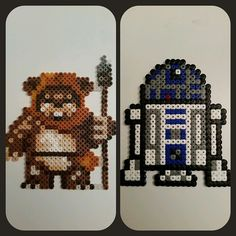 Ewok and R2D2 - Star Wars perler beads by perler_by_lotta