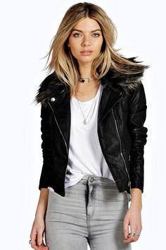 Kate Faux Fur Collar PU Biker