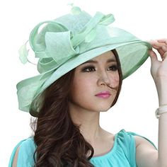 June's Young Sinamay Hat Women Hats Girls Summer Church Hat Cocktail Hat Epsom derby Hat (Green): Amazon.co.uk: Clothing