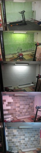 Painting cinder block walls in a basement.