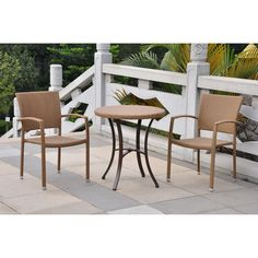 International Caravan Barcelona Tan Frame Bistro Patio Set with Bistro at Lowe's. Add a touch of striking contemporary style to your patio furnishings with this bistro set. This set features durable aluminum frames complimented with Patio Furniture Sets, Colorful Furniture, Furniture Ideas, Furniture Design, Bistro Patio Set, Aluminum Patio, Resin Patio, Wicker Table, Wood Table