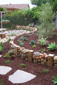 Rustic Landscape/Yard with Gabion Cage, Pathway, Fence, 7 cu. yd. Red Landscape Loose Bulk Mulch, Raised beds
