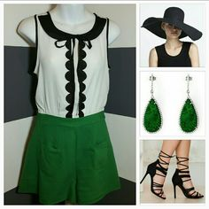 """Chic and Classy Romper NWOT Brand new, no tags So chic and classy romper. This romper mixes white and black with gorgeous green to make this romper a smashing success! Lovely feminine details on the top, black collar, black trimming and a small tie bow. The back offer a little a bit of sexiness with a small opening. Just add a floppy hat, glamorous earrings and heels!  Zips up in back with a button at top.  2 pockets on the shorts Material 53% rayon 47% cotton Length 29"""" Bust 18"""" seam to…"""
