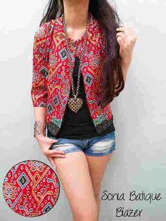 Jual Blazer Sonia Batik V103  Keren - http://www.butikjingga.com/blazer-sonia-batik-v103