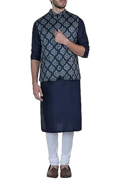 Mayank Modi Featuring a blue nehru jacket in silk base with retro gulmohar print.