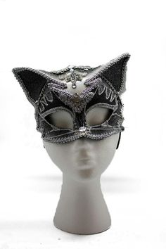 MASQUERADE BLACK JEWELLED MASK WITH BLACK SEQUINS /& FLOWER HEADBAND FITTING
