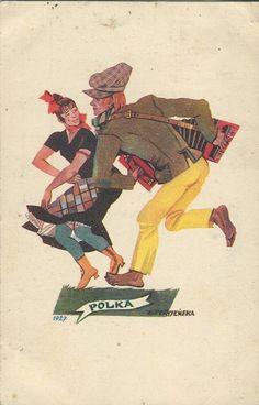 """Pocztówka """"Tańce polskie. Polka"""" proj. Zofia Stryjeńska (1927)"""