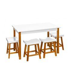 Table de Salle à Manger Rectangulaire et ses 4 Tabourets 120 x 75cm  WADIGA à 387€ l'ensemble