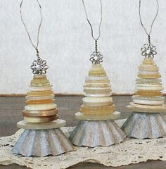 Vintage Inspired Button and Tart Tin Ornaments