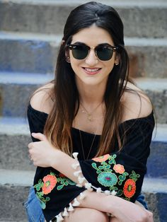85a51fbf358 Floral Embroidered Top Daily Shoppe Louboutins  amp  Love Fashion Blog  Esther Santer Rayban Sunglasses Black