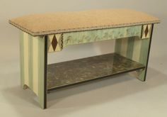Short Bench:  Olive-Aqua, Ships-As-Shown or Custom Made-To-Order by SuzanneFitchGallery on Etsy