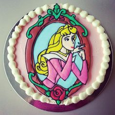 I am really picky & Aurora's nose & mouth are a bit off. BUT, other than that, this is a PERFECT picture of my fav princess!!!  ===  Aurora cake for Audrie..  #cake #aurora #auroracake #disneyprincesscake