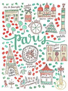 Paris Map Print - this map is aesthetically pleasing, simplified to main monuments of Paris in a complementary colour scheme