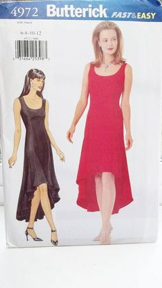 Misses' Fitted Dress Butterick 4972 Easy Sewing Pattern
