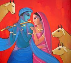 """Beautiful Indian Art available at IndianArtCollectors.com! """"RadhaKrishna7_1"""" by Sekhar Roy Acrylic On Canvas, Size(inches): 54X48 See more artworks by him at: http://www.indianartcollectors.com/artist/SekharRoy"""