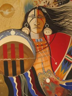 This painting is untitled. Painted by Larry Hood in 1993 (Tempera and watercolor on paper, CNMCC Collection. Native American Decor, Native American Paintings, Native American Symbols, Native American Artists, American Indian Art, American Women, American Indians, American History, Indian Artwork