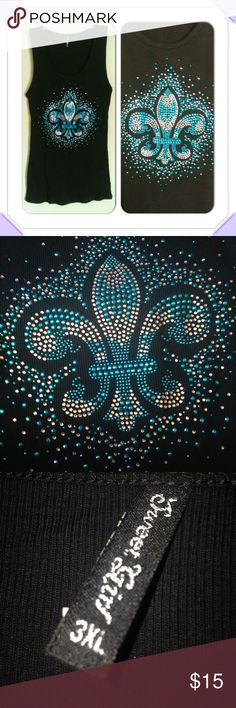 NWOT RHINESTONE STUDDED TANK TOP Clear and turquoise rhinestones on a black tank adorn this classic Fleur de Lis design. Scoop neck tank top. Sweet Girl Tops Tank Tops