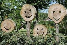 This got me thinking about ways of portraying emotions in the garden as a conversation starter. Garden Crafts, Garden Projects, Garden Art, Wood Projects, Sensory Garden, Garden Ornaments, Land Art, Garden Inspiration, Wood Crafts