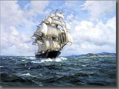The Sea Witch in 1850 during a record setting voyage - The Brigantine Gallery