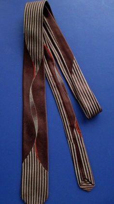 Vintage 1960s Necktie Cutter Cravat Abstract Striped Brown Orange Silk FRANCE #CuttersCravat #NeckTie