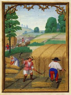 August.  Simon Benning's De Costa Hours.  Yet more black straw hats.  They're side by side with the straw colored ones.  (Why did I never notice this?)