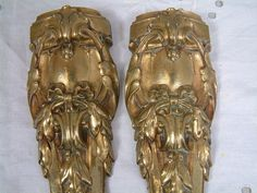 Antique French GILDED bronze furniture ornaments. Set by Chanteduc