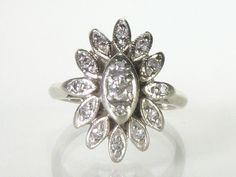 Vintage 14K Gold Diamond Cocktail Ring  Petite by lonestarestates, $335.