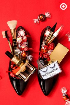 Celebrate St. Nick's Day! Fill a pair of patent flats with Sonia Kashuk's holiday collection— brush sets, makeup palettes, kajals eyeliners and TONS of style.