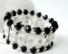 Black Crystals With Silver Connectors Elastic by BijiBijoux, $29.00