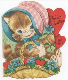 1957 Kitten Valentine, Hello Valentine Be Mine, Used, good shape by VintageNEJunk on Etsy