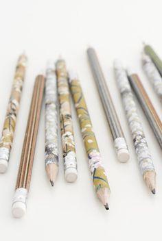 diy pencils - wrap pretty paper around pencils