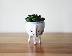 Three-legged Elephant Planter in Baby Blue - planter on stilts / with legs - animal - light blue- handmade, Canadian pottery Vida Natural, Deco Originale, Little Elephant, Plantar, Humble Abode, Indoor Plants, Flower Pots, Planting Flowers, Greenery